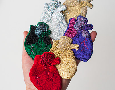 Hand embroidery Anatomical hearts pin collection