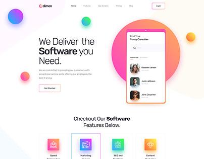Dimon - Software App Landing Page PSD Template