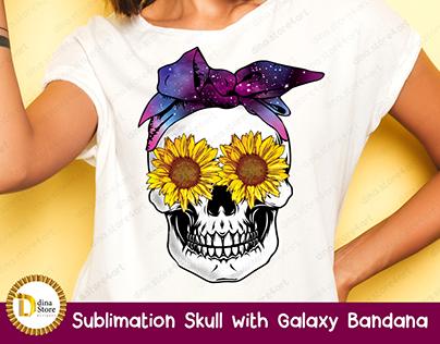 Sublimation Skull with Galaxy Bandana