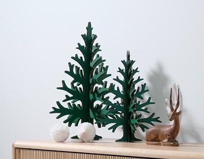 Green cardboard christmas trees