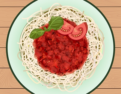 A dish of pasta with Bolognese sauce. Top view.