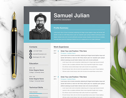 Resume InDesign, Resume Graphic Designer, CV Template