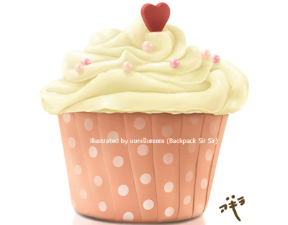 Lovely Pink Cupcake (Small Cake) with Heart symbol