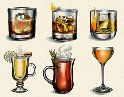 Dewar's Whisky Cocktail illustrations.