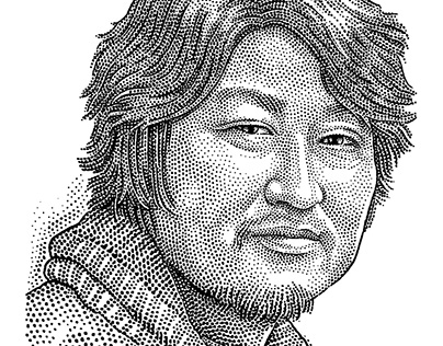 Stipple portrait of Kang-ho Song (송강호)