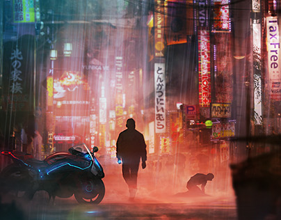 Cyberpunk digital paintings for Human Interface