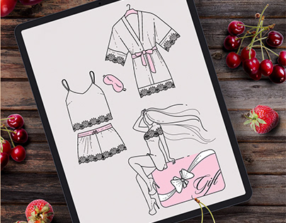 Иллюстрации для сайта белья и одежды для девушек