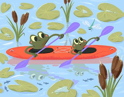 Frogs kayaking 🛶🐸🐸