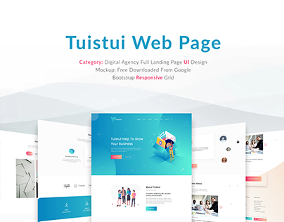 Tuistui Digital Agency PSD, XD Landing page design
