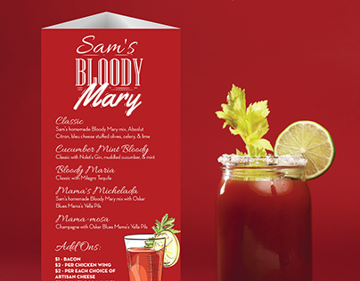 Bloody Mary Cocktail Menu