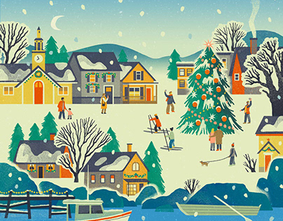 L.L.Bean Holiday Catalogue Cover Illustration
