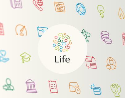 Icon set for Life bank