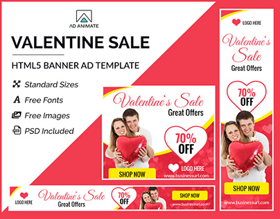 Valentine Sale Shopping Banner- HTML5 Ad Templates