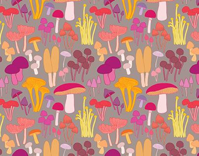 Pink Mushrooms - Repeat Pattern