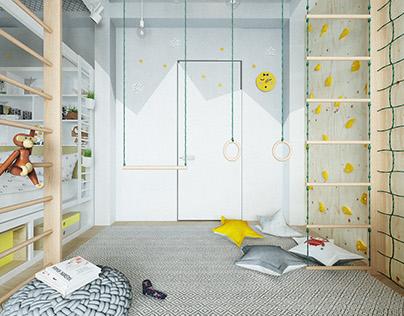 Modern colourful kid room