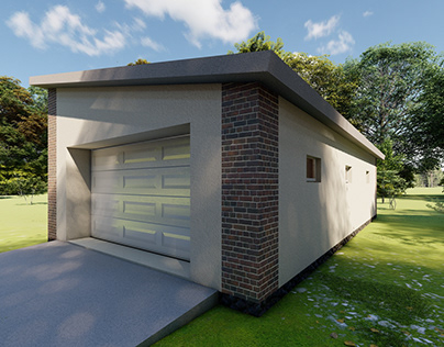 Visualization. House in the village. Garage