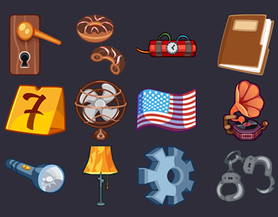 Detective game icons