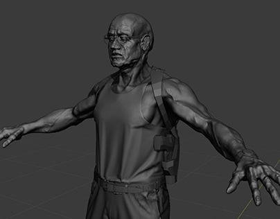WIP - Elderly action character