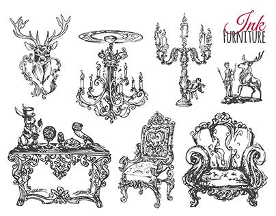Vintage furniture ink. vector