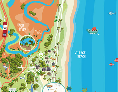 touristic pictographic map of Arembepe