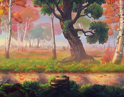 Parallax Autumn Forest Background