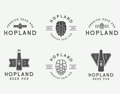 Set of vintage beer and pub emblems