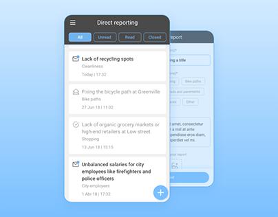 Direct reporting screens - mobile app