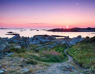 Sunset over Lihou Island in Guernsey