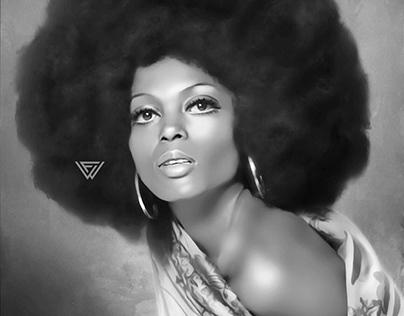 Diana Ross Digital Oil Painting by Wayne Flint