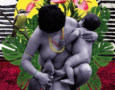 Indígena amamentando porco do mato - Colagem digital