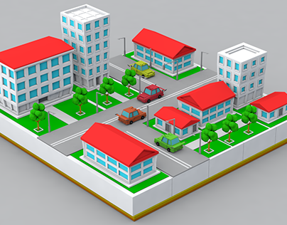Low Poly City Animation