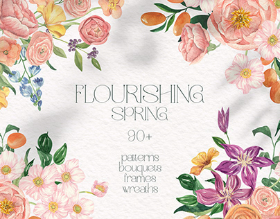 Flourishing Spring Watercolor Clipart Collection
