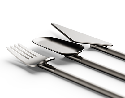 Cutlery Set - A disconnected fork, knife and spoon