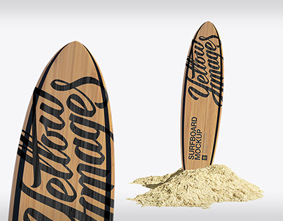 Wooden Surfboard in Sand Mockup