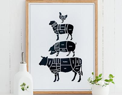 Scandinavian kitchen prints
