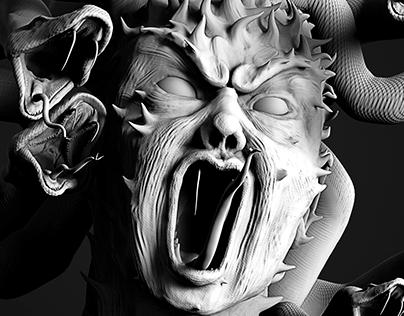 Bust Angry Medusa