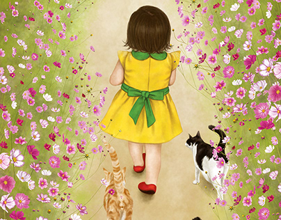 Girls and Cats Walk on Cosmos Flower Road