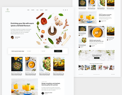 Food Blog Landing Page UI Design