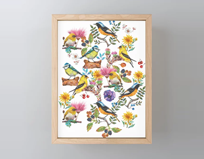 Watercolor spring birds