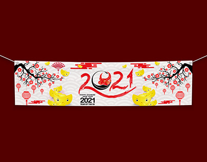 Happy New Year 2021 banner. Year of the Ox .