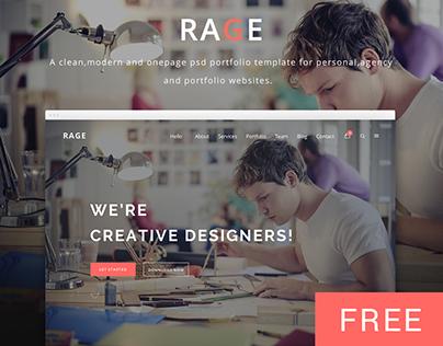 RAGE - Digital Agency PSD Template | Freebie