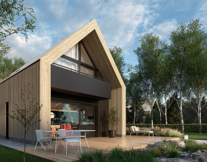 House with wood cladding