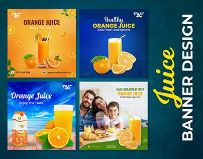 Juice social media banner design, E-commerce