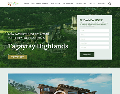 Tagaytay Highlands Homepage Website