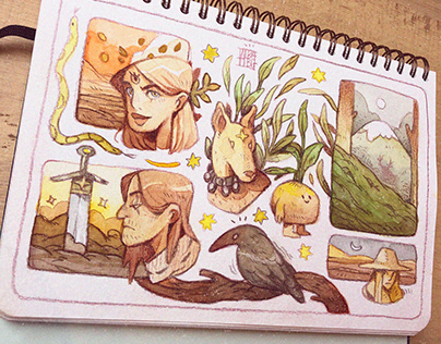 🌙🐸 Watercolor sketches 🌞🌿