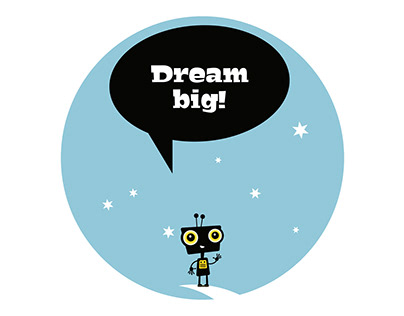 """Paper growth chart """"Dream Big"""" with a robot on the moon"""
