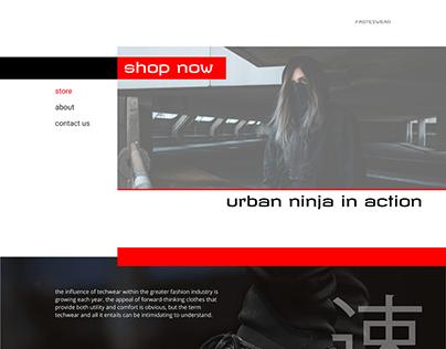 """Landing page, techwear store """"fastexwear"""""""