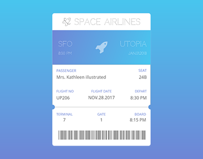 Space Airlines Ticket (UTOPIA Planet)