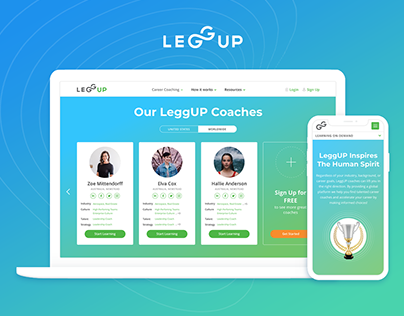 Website for LeggUP Coaching Platform