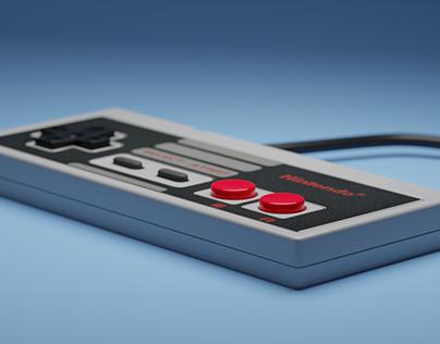 NES controller 3D rendering